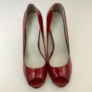 Nine West Red patent peep toes